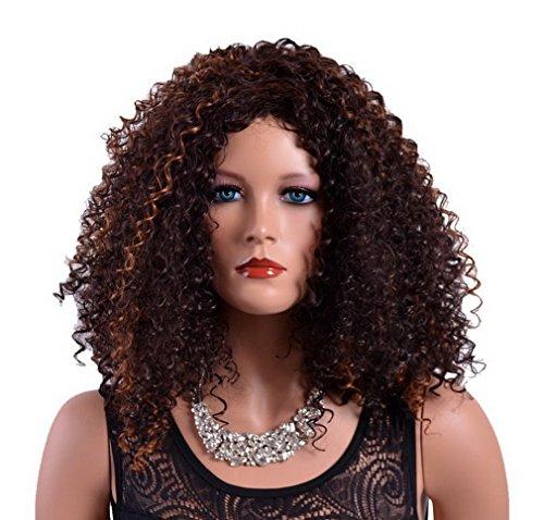 A.Monamour Longueur Moyenne Des Épaules Brun Brunette Perruque Ondulée Perruque Réfléchissante Avec Des Brins Pour Les Femmes Afro-Américaines