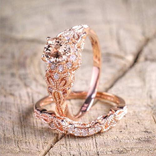Finemall Fashion Elegant Women 18K Rose Gold Filled Morganite AAA Zircon Pink Gemstone Wedding product image