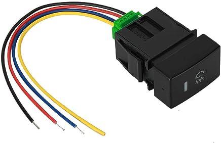 Perfetsell Interrupteur /à bascule /étanche 4 pi/èces 12 V rond LED ON OFF SPST ON OFF Bouton poussoir avec fil 18 AWG pour voiture camion Jeep bateau