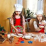 Demason 2 Stück Weihnachtsschürze Kochschürze Latzschürze mit Weihnachtsmann Küchenschürze/Grillschürze/BBQ Schürzen Weihnachtsgeschenk für Erwachsene und Kinder 58 cm x 71 cm - 6