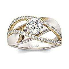 ☀ Inspiration:This Jeulia wedding ring sets with elegant and modern design, this crossover design showcases intertwining strands that represent two lives - and two distinct stories - as they blend together and become one. A sparkling round cut center...