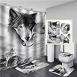ZHEBEI Weißer Wolf bedruckter Duschvorhang-Set, wasserdicht, Badezimmer-Dekor mit rutschfestem WC-Deckelbezug, Flanell-Küchenmatte, Teppich & Fußabtreter