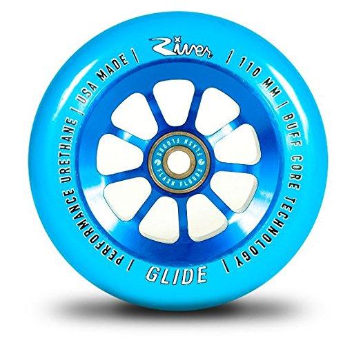 River Glide 110mm Stunt-Scooter Rolle inklusive River Flash Kugellager + Fantic26 Sticker (Glide Blue)