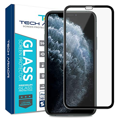 Tech Armor Edge to Edge Glass Screen Protector for New 2019 Apple iPhone 11 Pro/iPhone X/iPhone Xs  CaseFriendly Tempered Glass 3D Touch Accurate Black 1Pack