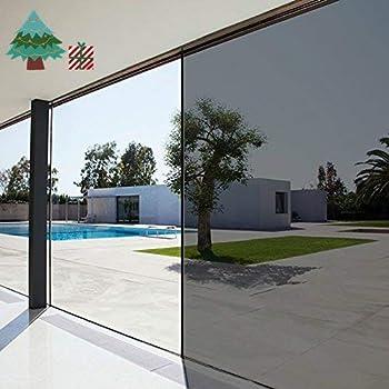 Lifetree One Way Mirror Window Film Heat Control Glass Film Non-Adhesive Day Time Privacy Sticker Sun Block Window Film Static Cling Reflective Film 90x200cm