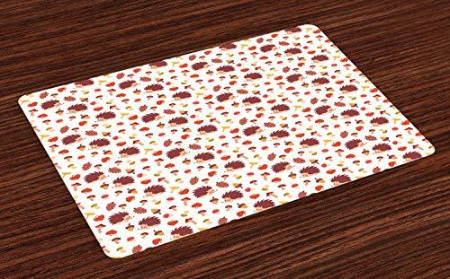 ABAKUHAUS Pilz Platzmatten, Netter Herbst inspirierte Muster mit natürlichen Elementen Igel-Eicheln und Äpfeln, Tiscjdeco aus Farbfesten Stoff für das Esszimmer und Küch, Mehrfarbig