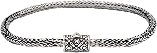 925 Sterling Silver Bracelet with Tulang Naga Chain Round 3 MM and Spring Lock Closure with Bali Motif for Women, Men and Jewelry Gift