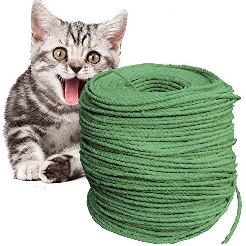 O'woda Natural Cuerda de Sisal Gatos 6mm, para Reemplazo Árbol Rascador para Gatos, Accesorios de Bricolaje Manualidades (Verde, 50M)