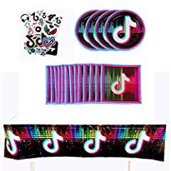 (What you will get) 20 Tik Tok party plates, 20 napkins, 1 tablecloth. 4 temporary tattoo stickers. Each tattoo sticker has 6 different patterns, or 20 TIK stickers. random style (TIK TOK party decoration) This set is suitable for birthday party deco...