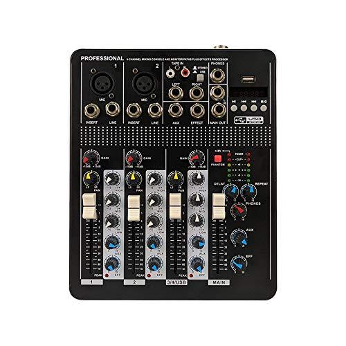 DJ Controller Mixer 4-Channels mit Wirkung USB Schnittstelle Netzwerk Karaoke Anchor Dedicated Kleine Mixer Unterstützungs-USB / SD-Karte Integrierte Bluetooth-Schwarz All-In-One Deck DJ Controller fü