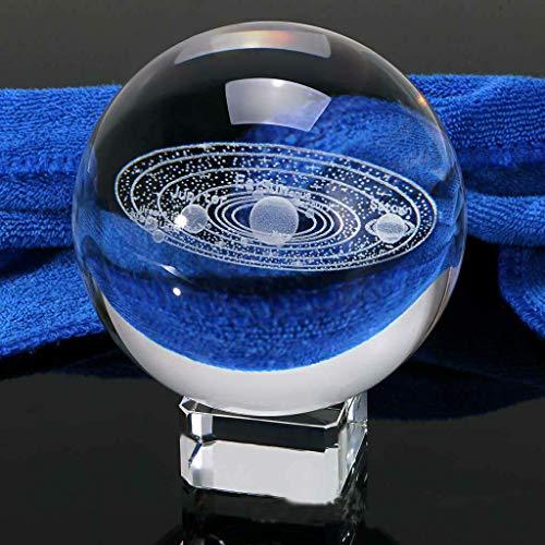 BANAMANA Miniature Sistema Solar System 3D Sfera di Cristallo inciso Solare Pianeti del Modello Glass Globe Ornamento Palle Home Decor