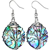SUNYIK Rainbow Abalone Shell Tree of Life Dangle Earrings for Women, Silver Plated