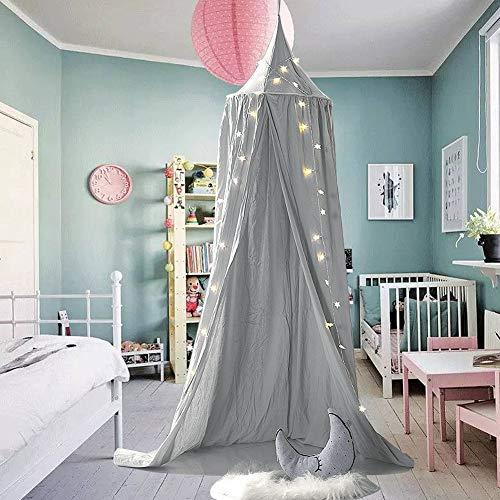 Frideko - Dosel/mosquitera para bebés, elegante estilo nórdico, algodón, altura 240 cm, con herramientas de instalación, algodón, gris, 240cm
