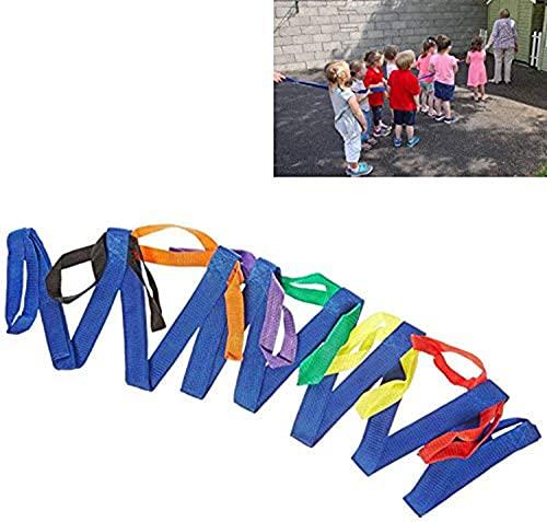 Duyifan Cuerda para Correr para niños Cuerda para Correr de Seguridad para niños: para Preescolar, guardería, niños en Edad Escolar, Exteriores Mangos Coloridos para hasta 12 niños 2 Maestros