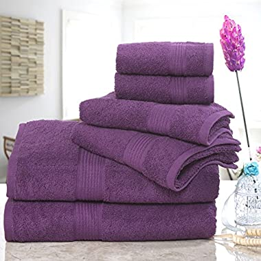 ISABELLA CROMWELL Super Soft Easy Care 6 pc Towel Set; 2 Bath Towels, 2 Hand Towels and 2 Wash Cloths - PLUM