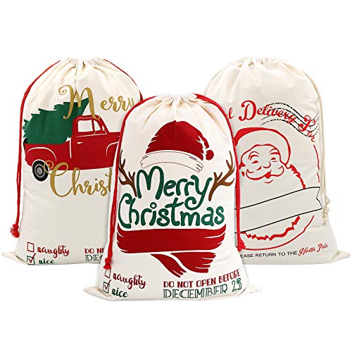 SumDirect Lot de 3 Sacs Cadeau Noël Toile, Sacs de Noël pour Cadeaux avec Cordon de Serrage, 70x50 cm