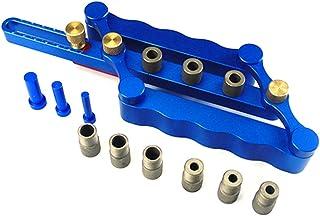 CarAngels ドリルガイド 冶具 木工 掘削 ドリルロケータ ガイド ダボガイドセット 調整可能 6/8/10mm 木工ツールセット アルミニウム合金 (ブルー)