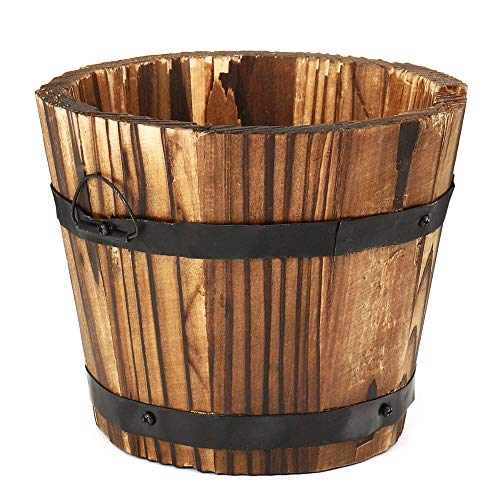 HO-TBO Maceta redonda de madera para flores, maceta para el hogar, oficina, jardín, boda, decoración del hogar, decoración del hogar, contenedor de plantas