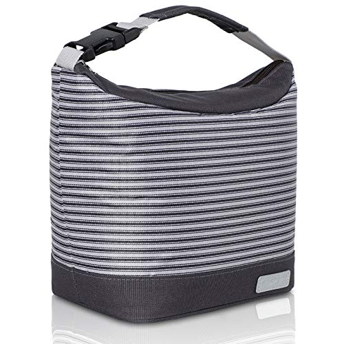 MIER Insulated Lunch Bag Reusable Thermal Cooler Bag for Women Men Kids Small Portable Meal Prep Tote with Buckle Handle Black Gray Stripes
