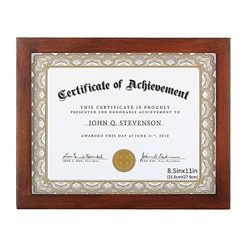 Rahmen für Dokumente/Zertifikate/Urkunden aus Massivholz High Definition-Glas zum Ausstellen Ihrer Zertifikate 21x28 cm (8.5x11 Inch) Standardpapier Rahmen Braun