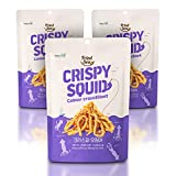 Calamari Chips Made with Real Squid [ 3 PACK ] Crunch + Crispy Healthy Snacks, Low Calorie Finger Food, Asian Snack ON THE GO by [FRIED SEA] <180 calories> Made in Korea