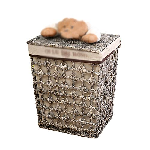 Heding Storage Basket Metal Frame Hand Made Corn Peel Pucao Square Cover Dust-proof Cotton Lining Toy Clothes, 2 Styles Living Room (Color : BROWN, Size : BROWN)