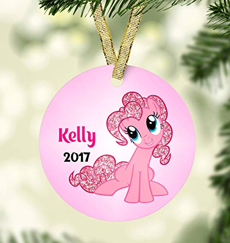 Lplpol 3 inch Circle Ceramic Ornament Decorative Ornament My Little Pony Christmas Ornament Pinky Christmas Ornament Kids Ornaments Personalized Christmas Ornament For Girls