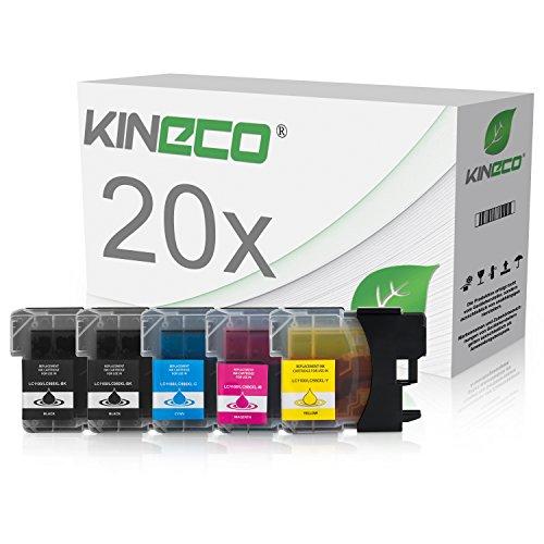 Kineco 20 Tintenpatronen Brother LC-1100 / LC-980 kompatibel für Brother MFC-250C MFC-255 MFC290C MFC-295CN MFC795CW DPC-165C DCP-J715W - Schwarz je 25 ml, Color je 15ml