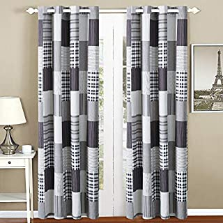 All American Collection Black and Grey Modern Plaid 4-Piece Curtain Set   Matching Quilted Bedspread and Pillow Shams Available!