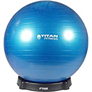 Titan Fitness 55cm Exercise Stability Ball w/Base Chair Combo Gym Yoga Sports