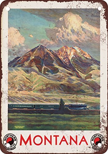 Kalynvi Montana Northern Pacific Railroad Vintage Look Reproduction Metal Tin Sign 12X8 Inches