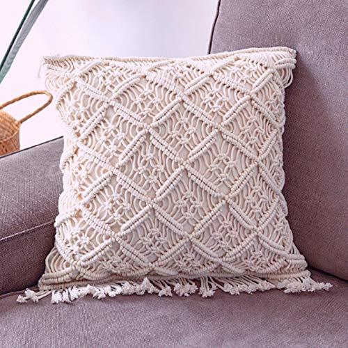 Medina - Federa per cuscino in macramè, lavorata a mano, lavorata all'uncinetto, stile boho, in filo di cotone, decorazione per il soggiorno, cuscino orientale beige 45 x 45 cm (design B)