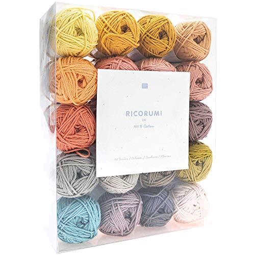 Rico Design Creative Ricorumi dk Set limited 20 colores 25 g – Hilo de ganchillo / hilo de algodón...