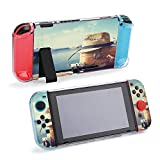 SUPNON Vintage Suitcase, Hipster Hat and Cruise Protective Case Compatible with Nintendo Switch Soft Slim Grip Cover Shell for Console & Joy-Con with Screen Protector, Thumb Grips Design29649