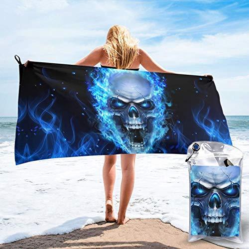 Toalla de baño con diseño de calavera azul con impresión 3D, toalla de gimnasio, toalla de playa, uso multiusos para deportes, viajes, súper absorbente, microfibra