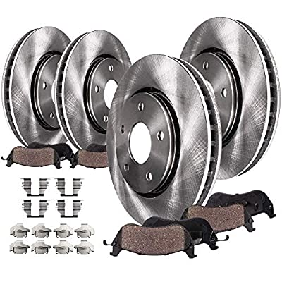 Detroit Axle - FRONT & REAR Brake Kit Rotors & Ceramic Brake Kit Pads w/Hardware fits 2008 2009 2010 2011 2012 2013 Nissan Rogue