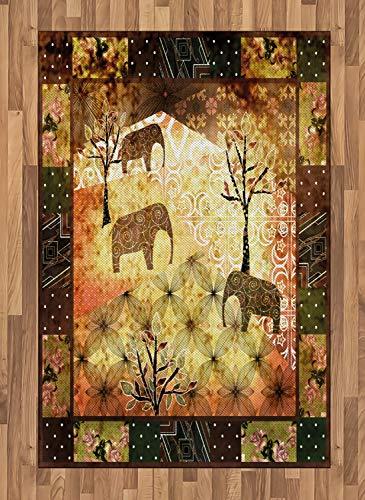 ABAKUHAUS Africano Alfombra de Área, Patrón Inspiración Retazos Desgastado Vintage Elefantes Árboles Rosas Estampa, Ideal para Sala de Estar o Comedor Resistente a Manchas, 120 x 180 cm, Multicolor