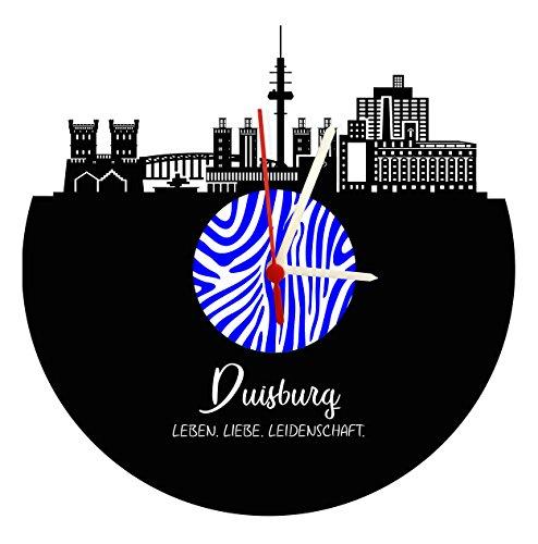 Wanduhr Duisburg Skyline,Zebra, hochwertige Acrylglas Uhr mit Quarzwerk