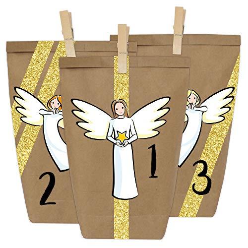 Papierdrachen DIY Adventskalender Kraftpapier Set - Engelchen zum Aufkleben - mit 24 braunen Papiertüten und Washi Tape zum selbst Befüllen und zum Selbermachen - Weihnachten 2019