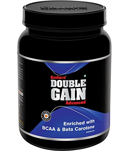 Endura Double Gain Advanced Mass Gainer, enriched with BCAA & Beta Carotene | Post Workout | 16g Protein, (1 Kg, Chocolate)