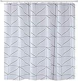 TYXL Shower Curtain Lujo Inicio Esenciales geométrico Moderno Tela Conjuntos de Cortina de Ducha con Ganchos Impermeable Lavable - 72 x 72 Pulgadas de Blanco y Negro (180 * 180 cm)