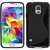 PhoneNatic Hülle kompatibel mit Samsung Galaxy S5 Neo - schwarz Silikon Hülle S-Style + 2 Schutzfolien