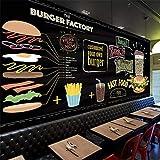 XUNZHAOYH Mural 3D Pared,Papel Tapiz Personalizado 3D Europa Pintado A Mano De Comida Rápida Burger Restaurant Snack Bar La Pared De Fondo 3D De Papel Papel De Parede,460(W) X280Cm(H)(15.1X9.2) Ft