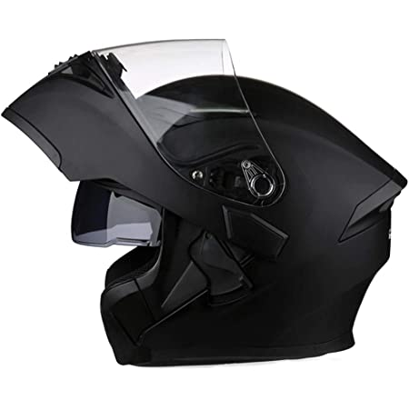 Full Face Motorcycle Helmet DOT Approved Helmets Dual Visor Sun Shield Flip up Modular Motocross Helm (XXL, Matte Black)