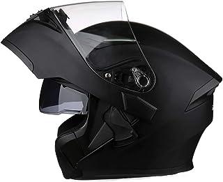 Full Face Motorcycle Helmet DOT Approved Helmets Dual Visor Sun Shield Flip up Modular Motocross Helm (L, Matte Black)