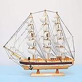 1yess 50 cm Modèle de Bateau en Bois Décoration Chambre Main Décoration Kraft Nautique Marine Statue