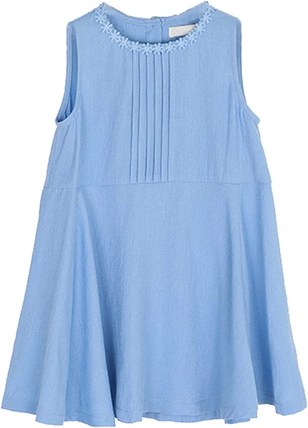 Generic2 Kids Dresses Summer Solid Color Breathable Sleeveless Cotton Dresses Girls Party Casual Crew Neck Princess Dress