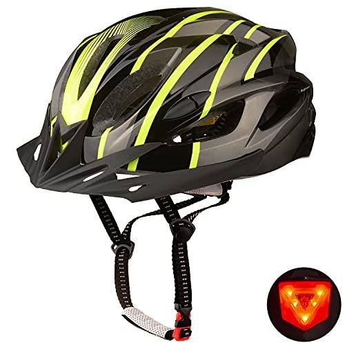 KINGLEAD Casco Bici con Luce LED con Visiera, Caschi da Bicicletta Unisex Uomo Donna Certificato CE Bici da Corsa Montagna All'aperto Sicurezza Casco Ciclismo Superleggero Regolabile