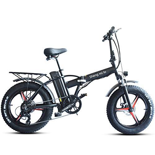 """Skyzzie 20"""" Bicicleta Eléctrica Plegables con Batería de Iones de Litio Extraíble 48V/15Ah,Fat Tire Ebike 500W Bicicleta Adulto,Asiento Ajustable,Pedales,Negro/Blanco"""