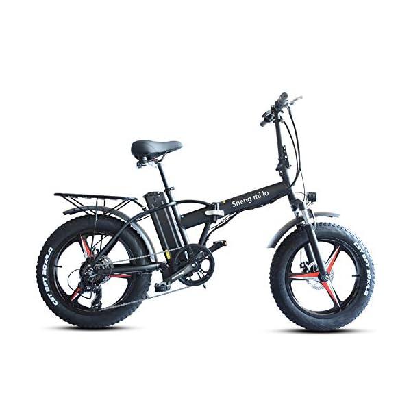51IbT79dI L. SS600  - Skyzzie Klapprad 20 Zoll Faltrad E-Bike Pedelec Elektrofaltrad Klappfahrrad F04, 7 Gang-Schaltung, LCD-Instrument, 48V 15AH,Weiß/Schwarz